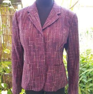 Multicolored snap front purple blazer